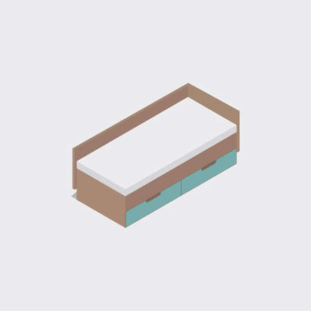 headboard: Bed. Isometric icon in 3D.