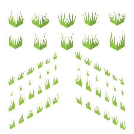 Des touffes de l'herbe. herbe isométrique sur un fond blanc.