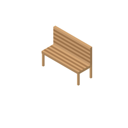 single seat: Bench. Isometric bench on a white background.
