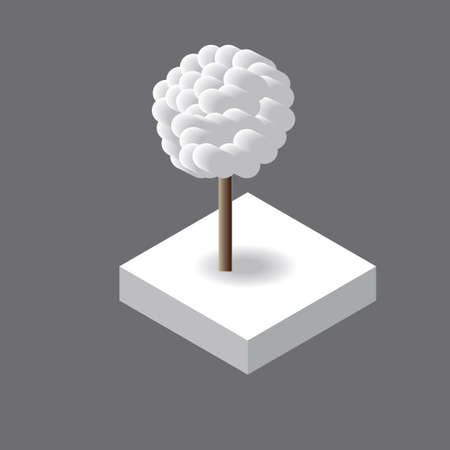 winter tree: Isometric Vector isolated winter tree for design.