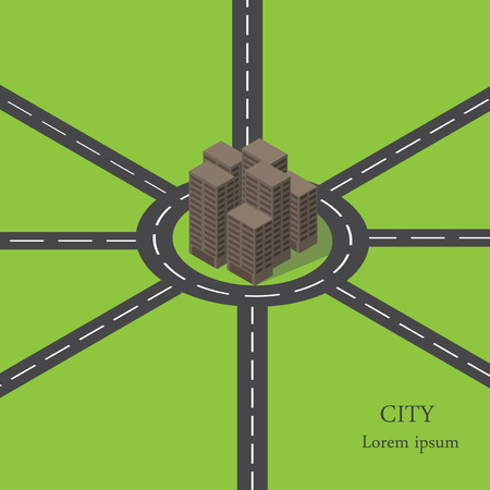 ring road: Vector isometric city ring road. Many roads around the city. Illustration