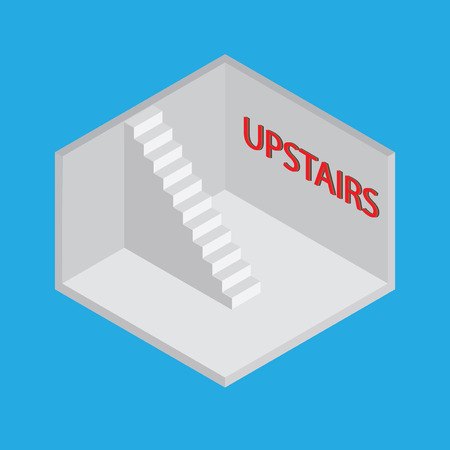 stimulation: Isometric room with stairs and says upstairs. Conceptual vector illustration.