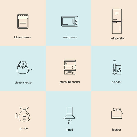 extractor: Icon set of kitchen appliances: microwave, blender, chopper, fridge, kettle, toaster, extractor hood, cooker, steamer.