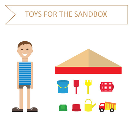 nowhere: Image of a boy in a striped shirt, and toys for the sandbox-style flat. Outdoor games for children. Toys for the sandbox.