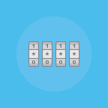 secret number: Icon combination lock in flat style. Illustration