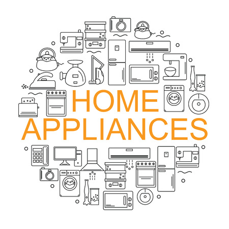 telephone icons: Home appliances. Icons of home appliances arranged in a circle in the style of the line. Banner or poster with home appliances.