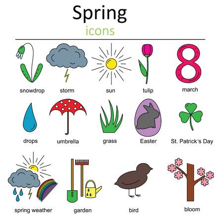 animal st  patricks day: Set of spring icons. Symbols of spring.