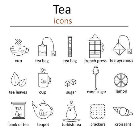tea set: Set of web icons for tea. Set of icons in the style of line for tea.