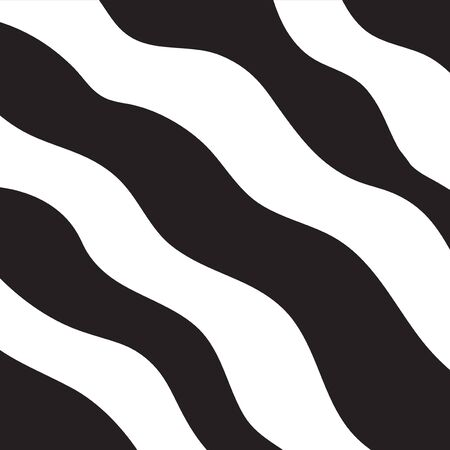Abstract wavy hand-drawn black and white striped background. Ilustração