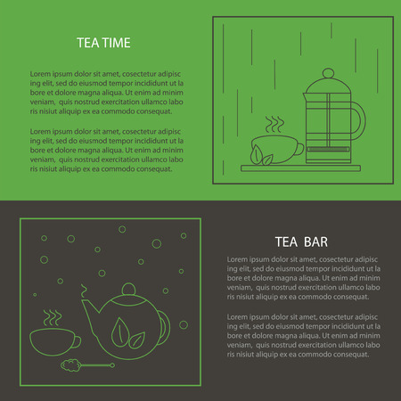 tea leaf: Vector set of design elements. The icons in the style of the line. Tea time tea bar: cup, tea leaf, french-press, tea pot, tea leaves, sugar cane.