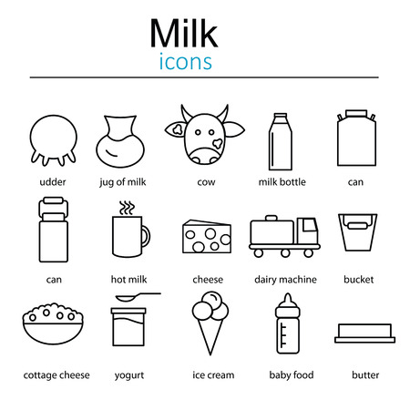 dairy cows: Set of icons of dairy. Icons of milk and dairy products. Icons milk. Dairy icons in line style.