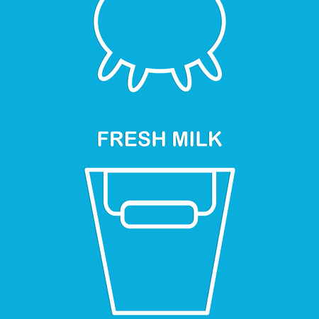 Linear illustration of cows udder and buckets. Fresh milk. The template for banner, label, store or company. Illustration