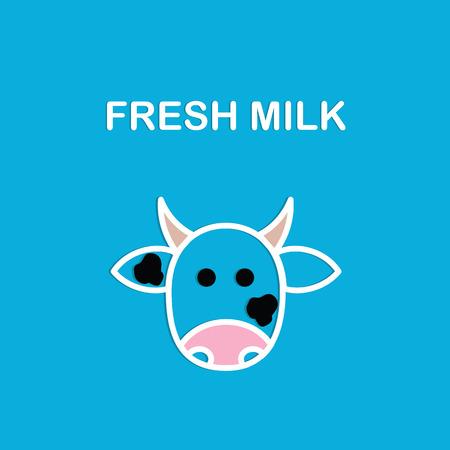 latte fresco: Latte fresco. Immagini di testa di mucca. Banner o un poster o una etichetta o copertura per il tuo negozio o azienda.
