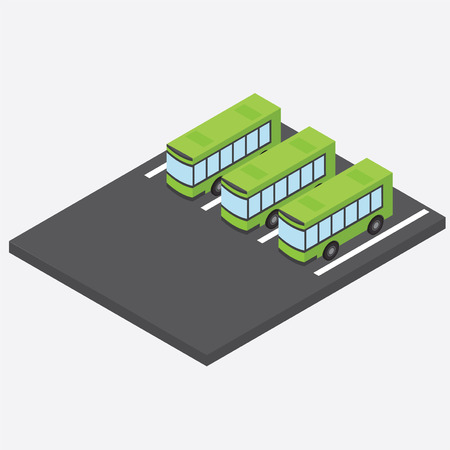 depot: Isometric bus parking. Bus depot. Three green bus in the parking lot.