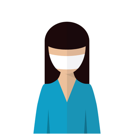 personal protective equipment: The image of a woman with medical mask on her face. Personal protective equipment. A woman in a blue dress with a gauze bandage on his face. Illustration