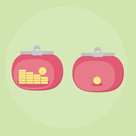 coin purses: Icons purses. Wallet full of money and a purse with a coin. A lot and a little money. Conceptual illustration. Vector. Illustration