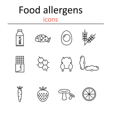 allergens: Food allergens. Icons food allergens in the style of the line.