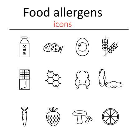 alergenos: Los al�rgenos alimentarios. Iconos al�rgenos alimentarios en el estilo de la l�nea.