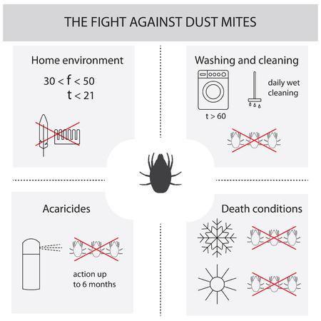 Infographies sur la lutte contre les acariens. Acariens. Méthodes de traitement des acariens de la poussière. Infographies illustration vectorielle.