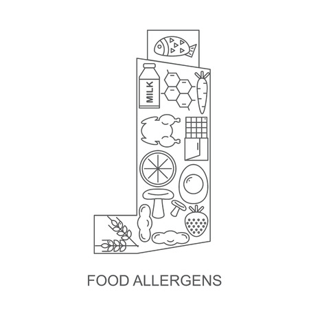 inhaler: Food allergens. Icons food allergens located inside the inhaler for people with asthma. Illustration