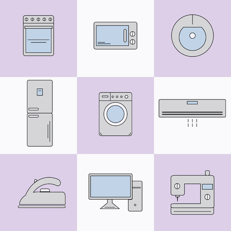 home appliances: Set of icons of home appliances in the flat style.