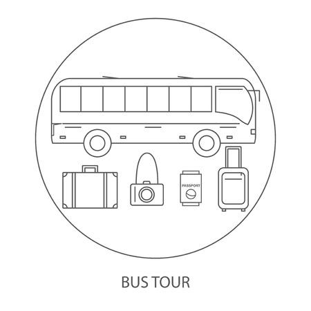 bus tour: Bus tour. Icons bus travel. Illustration