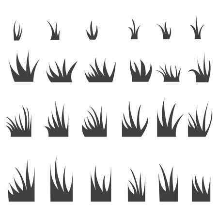 tuft: Silhouettes of grass tufts. Illustration