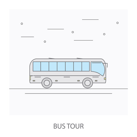 excursion: Bus tour. The image of the bus traveling on the road.