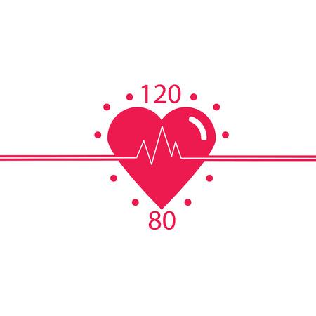 健康な心臓、血圧、健康的なパルスのベクター アイコン。循環器クリニック デザイン。健康な心臓の概念設計。