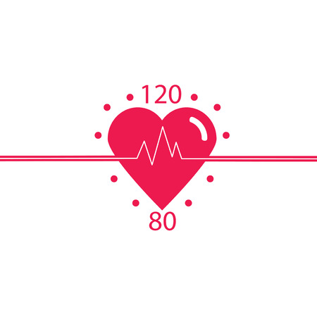 Vector icon of healthy heart, blood pressure, healthy pulse. cardiology clinic design. Conceptual design of a healthy heart.