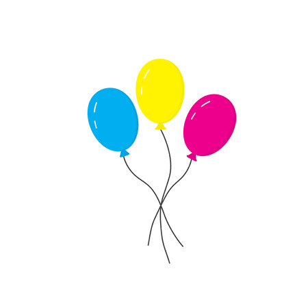 strings: Blue, yellow and pink balloons on strings. Three balloons. Icon balloons for the holiday. Vector illustration.