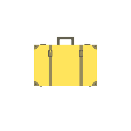 buckles: Yellow suitcase with buckles and straps isolated on white background. Suitcase for travel and business trips.  Vector illustration.