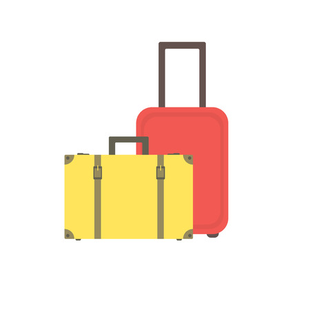 straps: Yellow retro suitcase with buckles and straps and a modern red suitcase on wheels. Two suitcases. Suitcases for traveling and business trips. Vector.