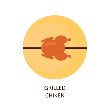 chicken meat: Grilled chicken. The emblem of chicken grilled on a skewer. Illustration