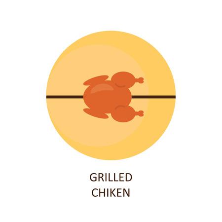 hot chick: Grilled chicken. The emblem of chicken grilled on a skewer. Illustration