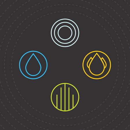 four elements: Cuatro elementos. Los iconos de los cuatro elementos. Vector Plantillas agua, aire, tierra y fuego. Ilustraci�n del vector.