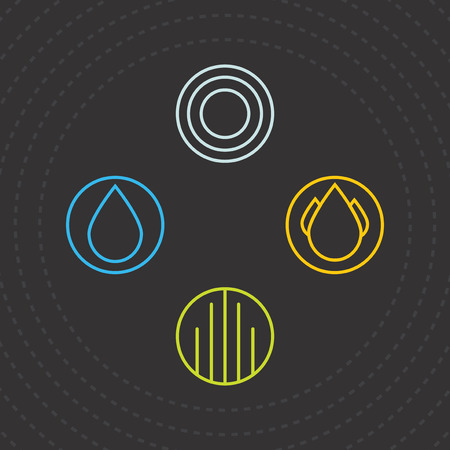 the four elements: Four Elements. Icons of the four elements. Vector Templates water, air, earth and fire. Vector illustration.