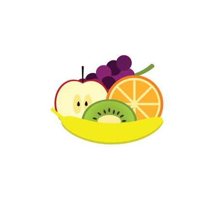 fruit salad: Heap of fruits isolated on white background. Icons of fruit. Fruit salad. Fresh fruits on a white background.