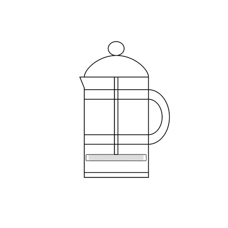 brew: French press. French press to brew coffee or tea. Icon french press in the style of the line.