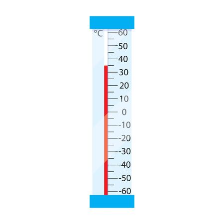 rising temperature: Street mercury thermometer. Measurement by Celso temperature. Icon thermometer in flash design. Thermometer isolated on white background. Vector illustration. Illustration