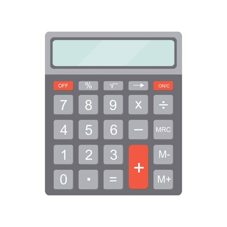calculator icon: Electronic calculator. Icon calculator in flat style. Calculator isolated on white background. Vector illustration.