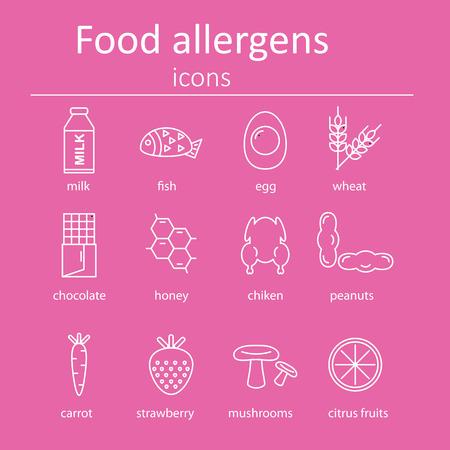 alergenos: Conjunto de iconos de los al�rgenos alimentarios. Iconos al�rgenos alimentarios. Ilustraci�n del vector.