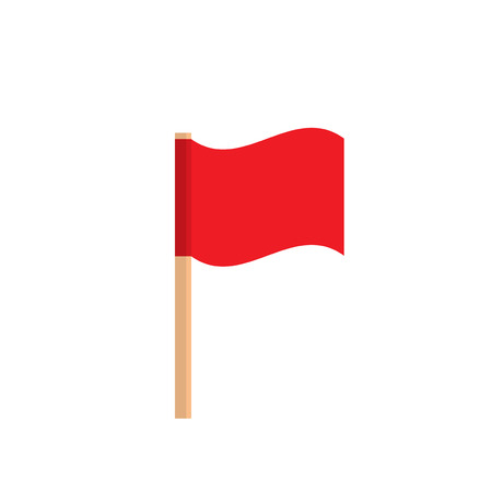 signal pole: Red flag on a wooden stick. Icon red small flag isolated on white background.