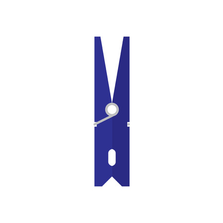 dry cloth: Pin. Blue clothespin isolated on white background. Icon clothespins in flat style. Vector illustration.