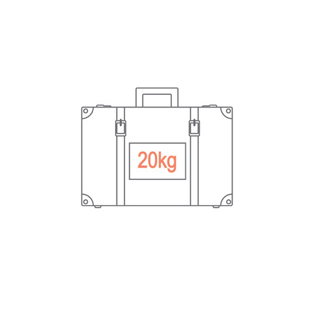 kilograms: Limiting weight of luggage at the airport. baggage weight does not exceed twenty kilograms. Suitcase depicted in the style of the line. Vector illustration.