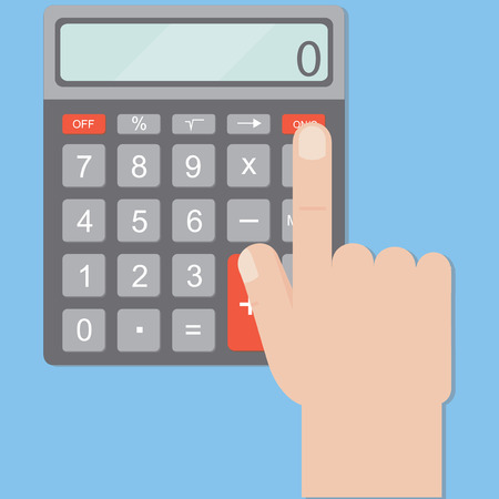 bookkeeper: Hand includes a calculator. Calculator business man. Hand and calculator on a blue background in a flat style. Vector illustration.