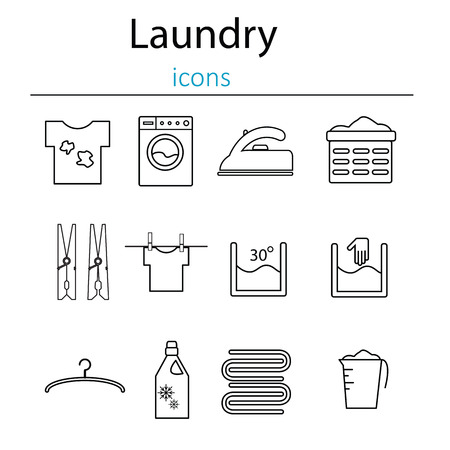 laundry line: Laundry and washing icons. Laundry and laundry icons in the style of the line. Vector illustration.