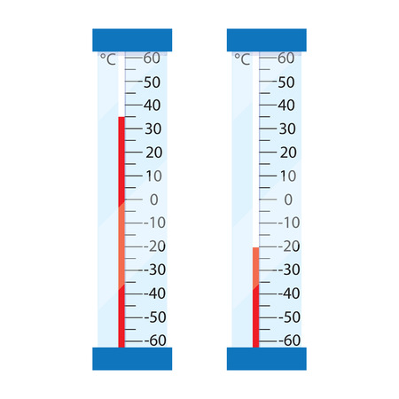 sweltering: Two street mercury thermometer. Thermometers show the high and low temperature. Measuring the Celsius temperature. The heat and frost. Vector illustration.