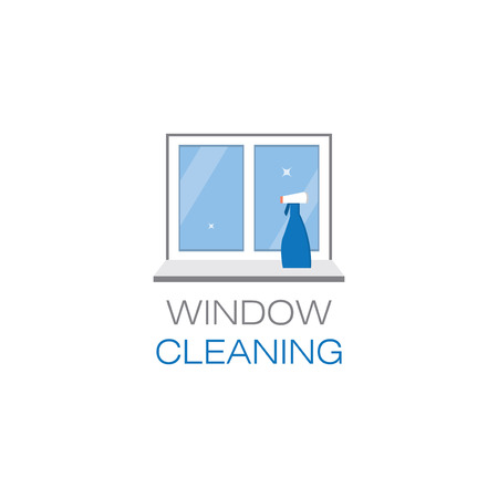 window sill: Net sparkling window and spray window cleaner on a window sill. Window cleaning. The emblem or logo of the cleaning company. Glittering window in the flat style. Vector illustration.