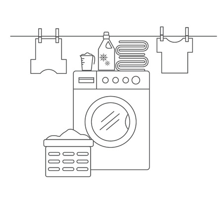 laundry line: Laundry room for washing and drying items. Laundry room with washing machine, linens and laundry facilities. Laundry room in the style of the line. Vector illustration.